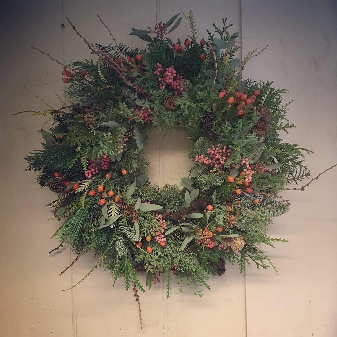 Christmas wreath by S P I N D L E for Rambling Rose Flowers