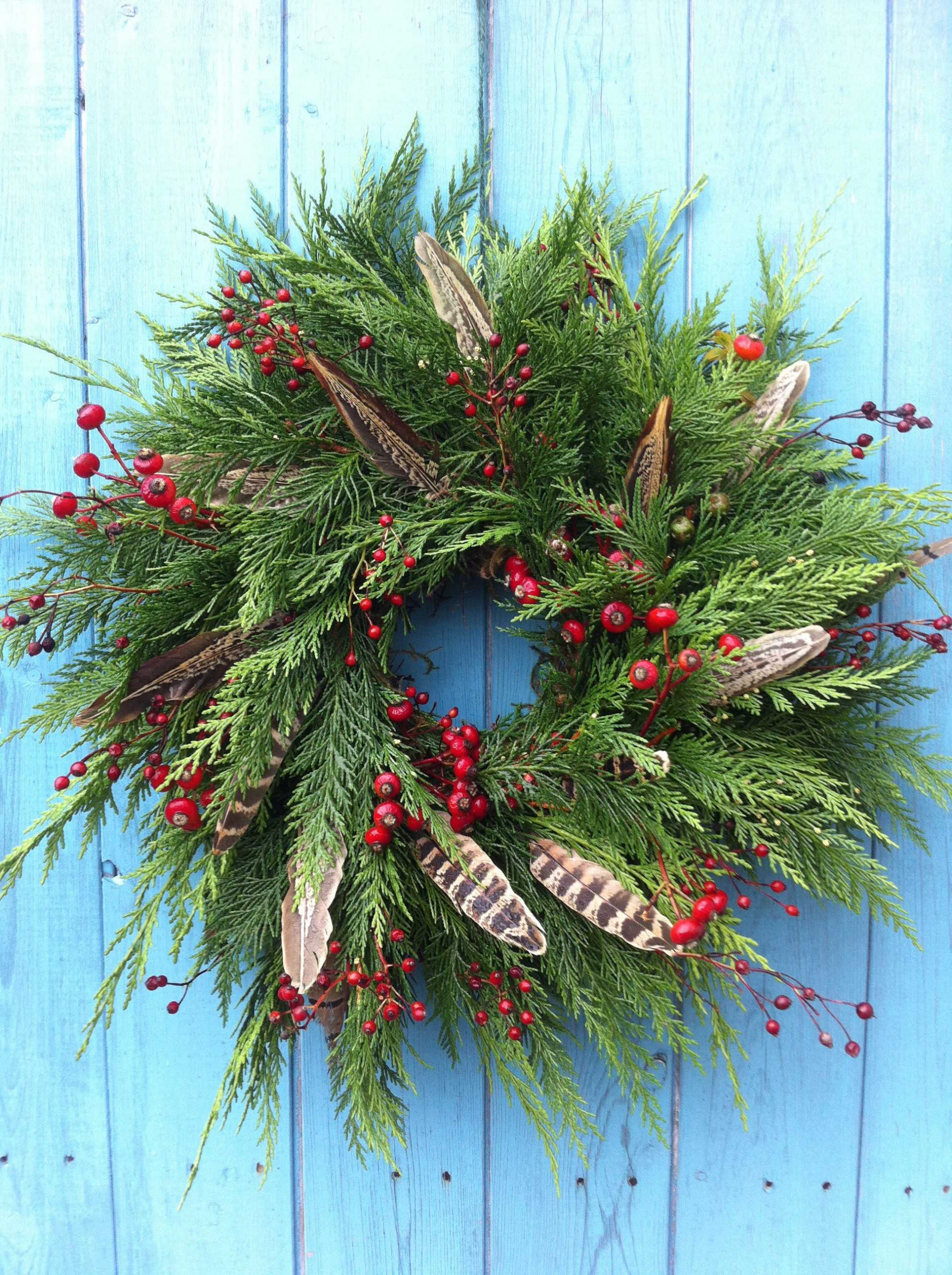 Christmas wreath - berries and feathers, by Zanna from S P I N D L E