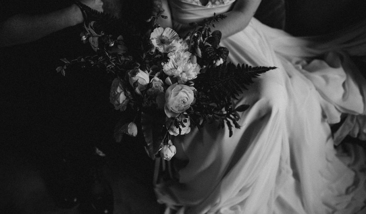 black white bridal bouquet - Dorset weddings British Flowers