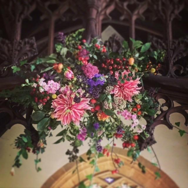 Netherbury Church - british flowers by S P I N D L E