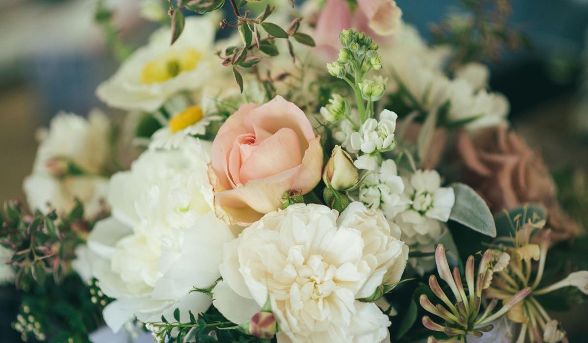beautiful wedding bouquet of british flowers - Dorset weddings